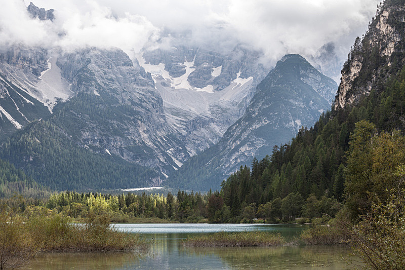 多洛米蒂山脉,徒步旅行,苏打,多比亚克,阿尔卑斯山脉南部石灰岩,上阿迪杰,野生动物,云,草,林区