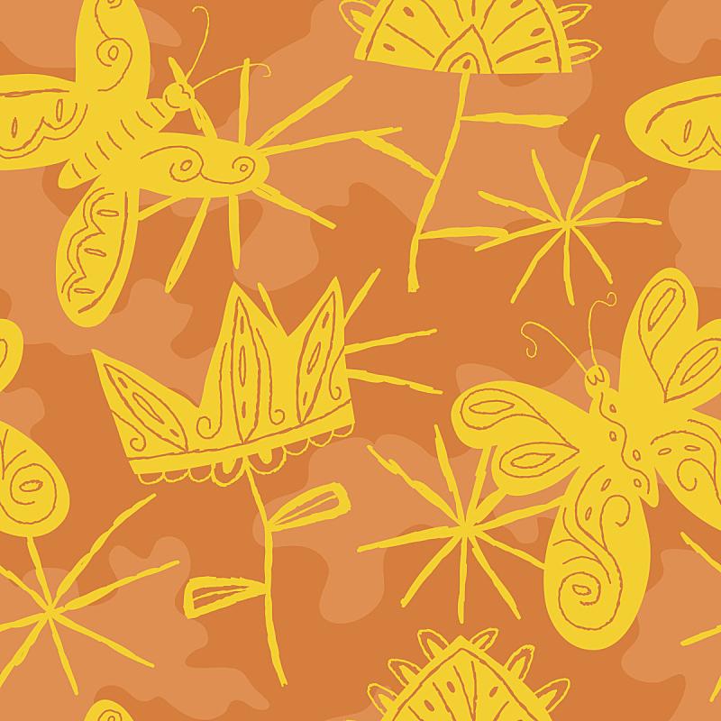 蝴蝶,夏天,四方连续纹样,矢量,欢乐,日光,绘画插图,艺术,动物身体部位,花