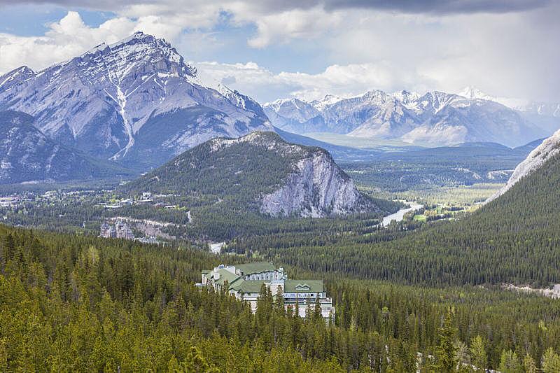 加拿大,班夫国家公园,肯莫,春天,湖,河流,瀑布,户外,晴朗,山脉