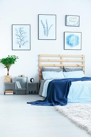 卧室,现代,床,木制,边几,书架,垂直画幅,新的,灵感,墙
