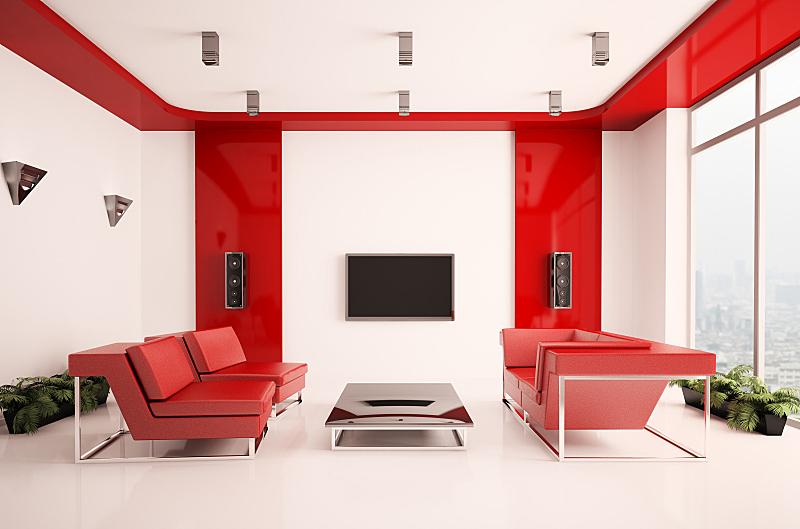三维图形,室内,起居室,座位,水平画幅,形状,无人,皮革,灯,现代