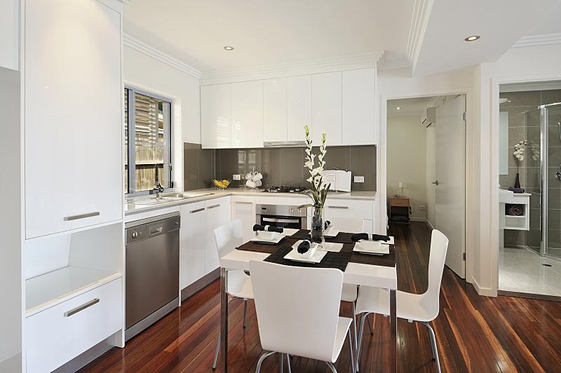 厨房,硬木地板,饭厅,图像,炊具,柜子,不锈钢,吃饭,设计