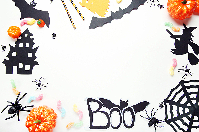 纸,糖果,白色背景,秋天,组物体,形状,白色,橙色,黑色