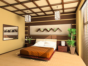 卧室,床,窗户,水平画幅,无人,架子,灯,家具,现代,花束