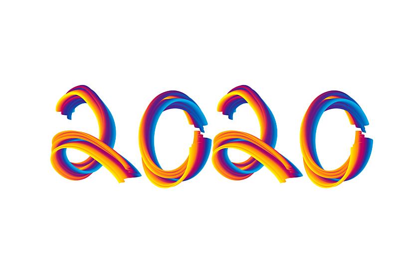 2020,式样,新年前夕,事件,彩色背景,现代,色彩鲜艳,涂料,彩虹,三维图形
