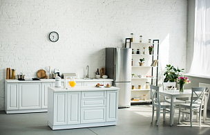 家具,光,现代,室内,厨房,选择对焦,留白,水平画幅,郁金香,无人