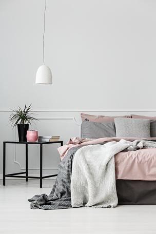 卧室,灰色,室内,粉色,垂直画幅,无人,太空,家庭生活,灯,家具