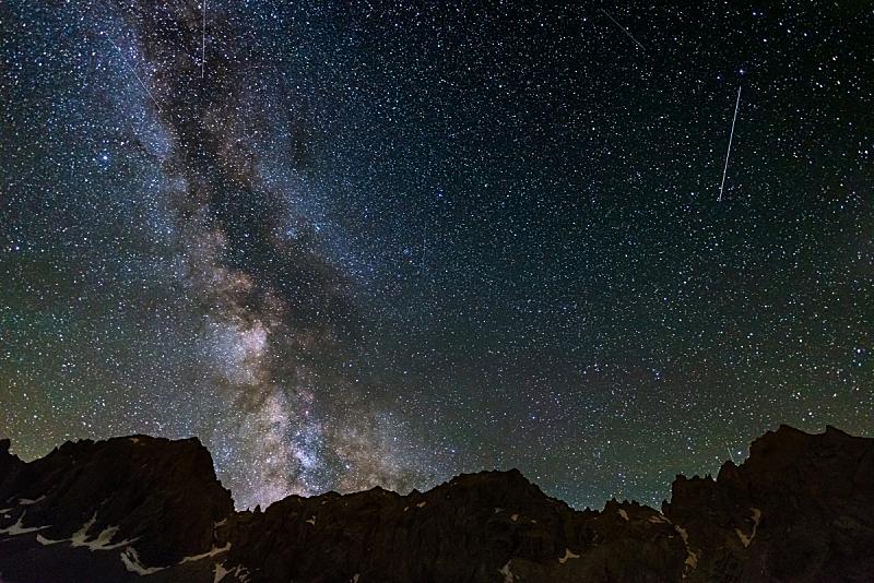 星系,银河系,阿尔卑斯山脉,捕获的,高处,洛矶山脉,侧面像,天空,星星,夜晚