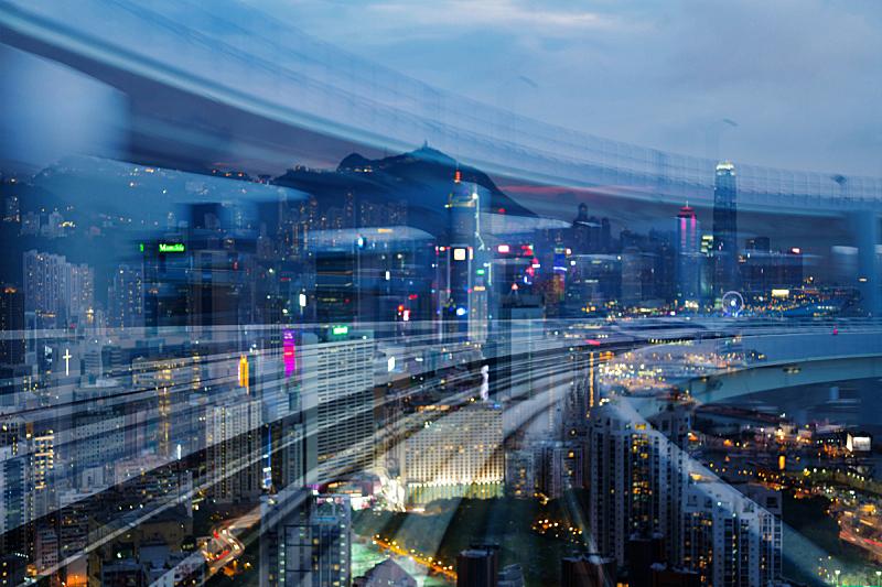 城市,火车,市区,光,办公大楼,在上面,夜晚,运动模糊,痕迹,行动