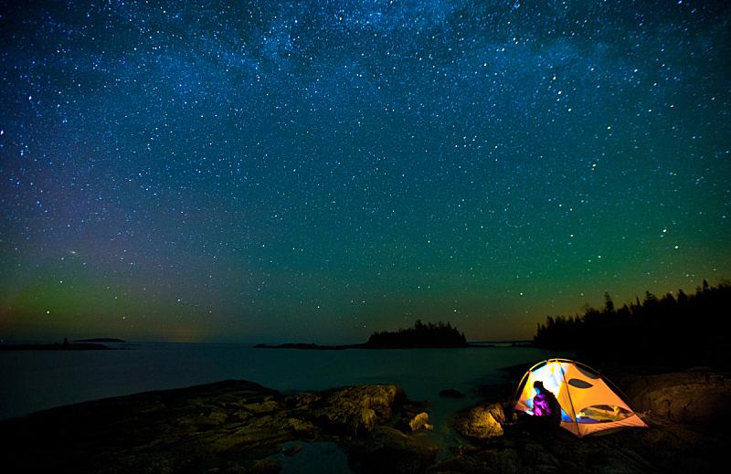 布鲁斯半岛,银河系,帐篷,天文学,流星,夜晚,天空,太空,星系,水平画幅