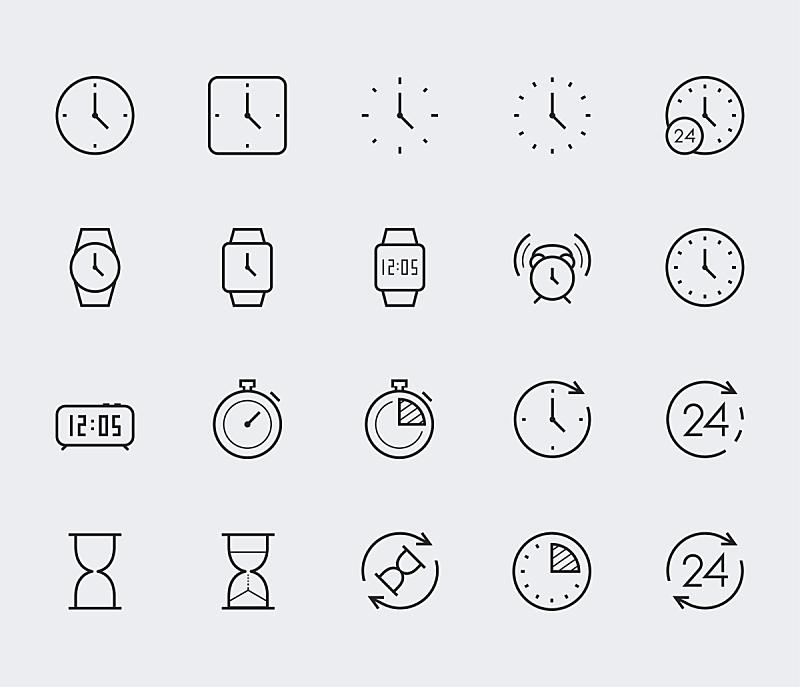 秒表,钟,矢量,细的,高雅,图标集,线条,水平画幅,沙子,绘画插图