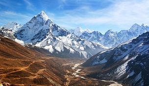 阿马达布朗峰,山,全景,自然美,风景,天空,公园,水平画幅,坤布,无人