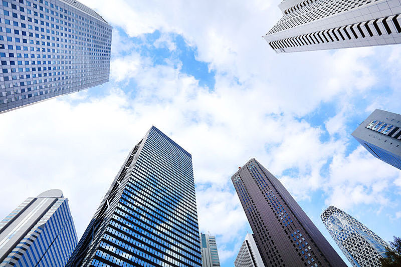 新宿区,日本,东京,蓝色,摩天大楼,天空,建筑外部,办公楼外观,总部大楼,新创企业