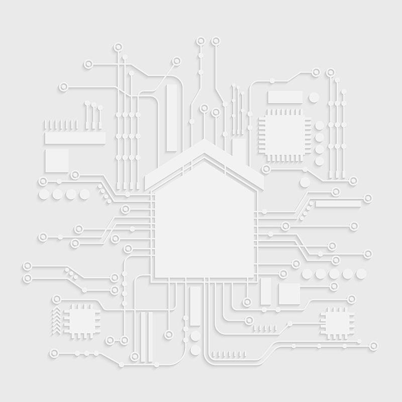 概念,矢量,绘画插图,电脑芯片,计算机图标,家庭自动化,活力,有序,厚木板,技术