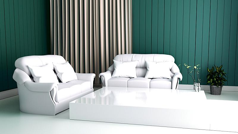 沙发,三维图形,室内,墙,绿色,餐具柜,硬木地板,唇形科,空的,边框