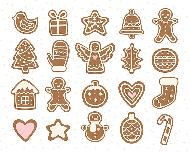 绘画插图,矢量,饼干,卡通,生姜,甜点心,面包,白色,十二月