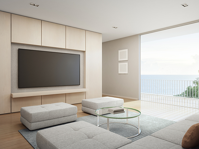 现代,假日别墅,海洋,看风景,巨大的,华贵,起居室,平顶,家庭,海滨别墅