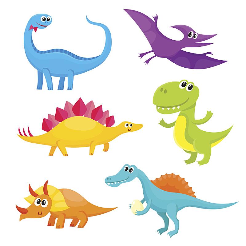 恐龙,卡通,可爱的,乐趣,婴儿,高雅,棘龙,翼手龙,微笑,布置