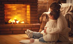 冬天,热,儿童,壁炉,母亲,家庭,夜晚,饮料,书,后背