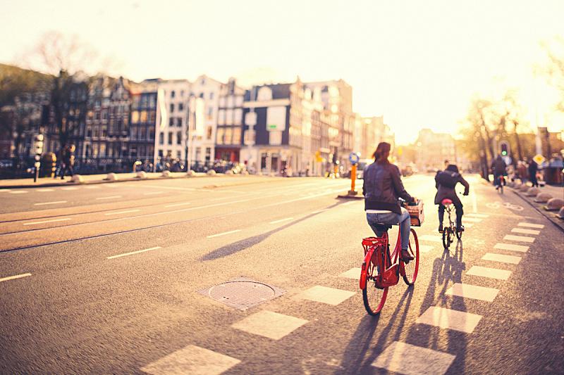 阿姆斯特丹,骑自行车,街道,人,欧洲,荷兰,早晨,市区路,运河,通勤者