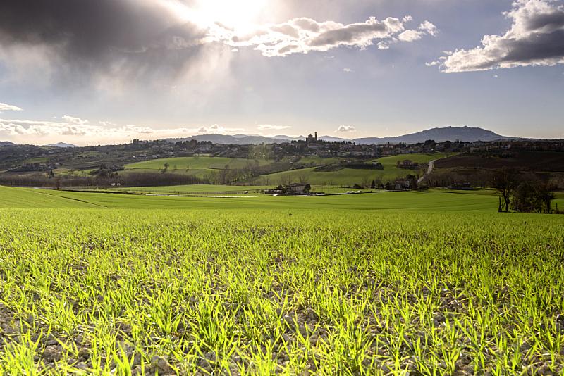 地形,意大利,自然,天空,水平画幅,绿色,山,无人,黄昏