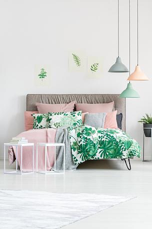 床,床上用品,比例,蛇王,软垫,垂直画幅,留白,无人,灯,家具