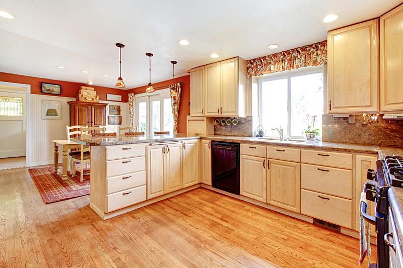 住宅房间,厨房,极简构图,小的,热,饭厅,水平画幅,无人,天花板,灯