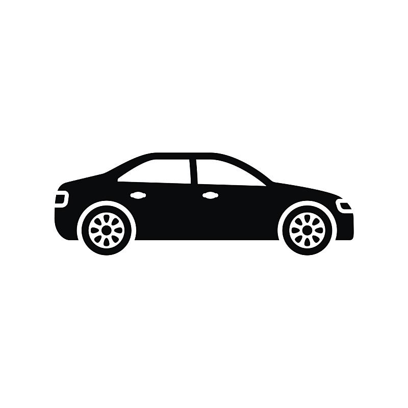 白色背景,汽车,极简构图,计算机图标,分离着色,黑色,车轮,艺术,形状,绘画插图