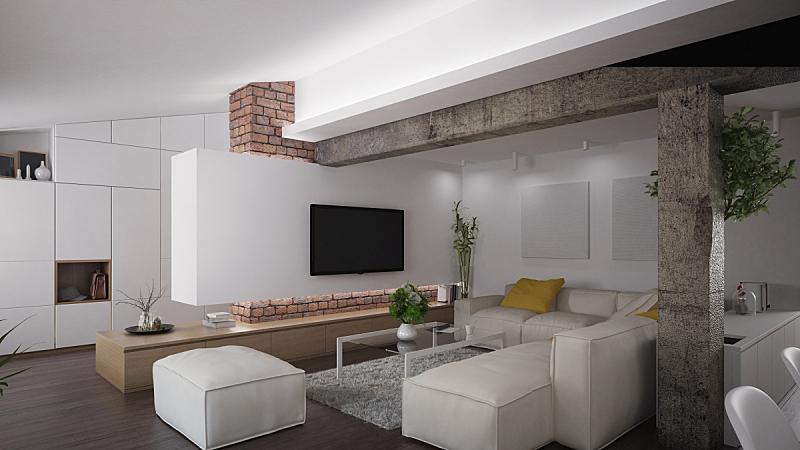 复式楼,现代,室内,屋顶横梁,看电视,起居室,砖墙,地毯,硬木地板,美
