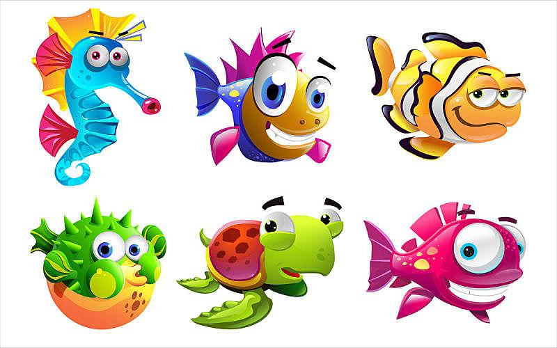 个性,海洋生命,海龟,水平画幅,小的,无人,海马,绘画插图,巨大的,水下