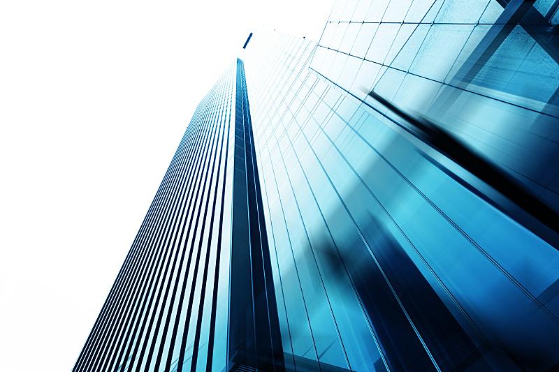 看,商务,办公楼外观,天空,现代,正下方视角,水平画幅,建筑,蓝色,金融