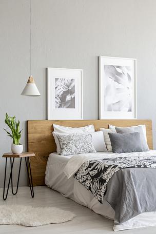 灯,植物,卧室,床,灰色,桌子,木制,室内,摄影