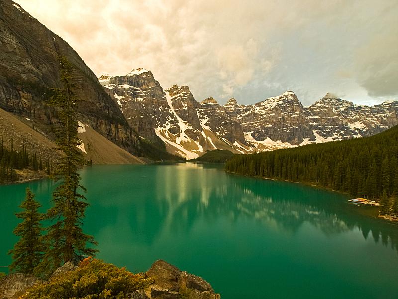加拿大,湖,山脉,自然,干净,国内著名景点,山脊,云,顶部,著名景点