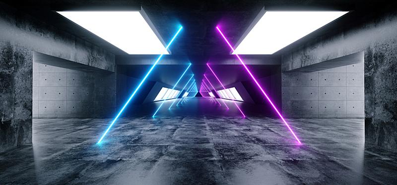 隧道,走廊,三维图形,未来,混凝土,白色,霓虹灯,蓝色,反射,发光