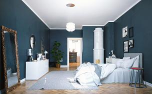 卧室,现代,室内,镶花地板,相框,水平画幅,无人,绘画插图,传统,家庭生活