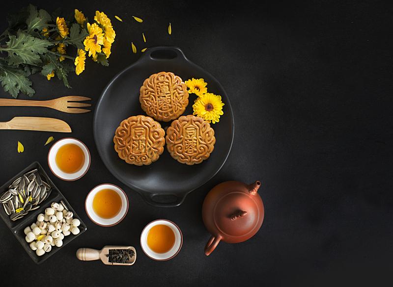 传统节日,饮食,秋天,中间,月饼,中秋节,菊花,马来西亚,中国茶,烘焙糕点