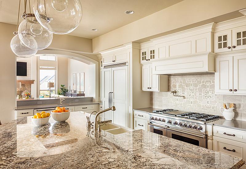 灶台,岛,厨房,柜子,自然美,褐色,新的,水平画幅,无人,椅子
