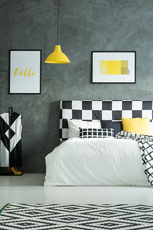卧室,暗色,几何形状,地毯,垂直画幅,枕垫,棉被,无人,家具,现代