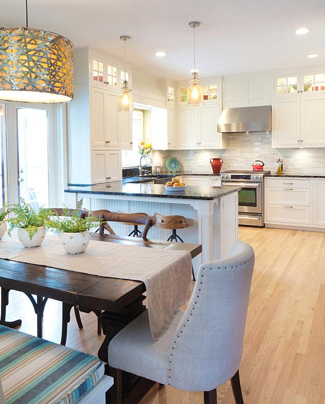 饭厅,现代,概念,开着的,厨房,简单,灯具,家居开发,垂直画幅