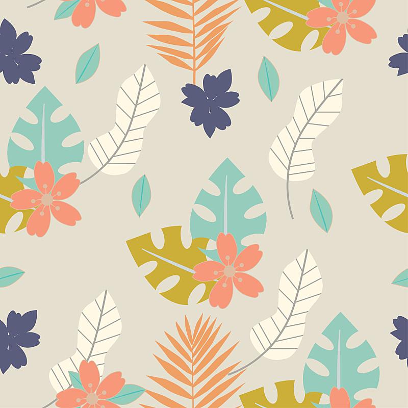 绘画插图,纺织品,热带植物图案,叶子,矢量,纹理,植物群,草本,花纹,花