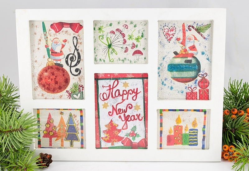 蝶古巴特艺术拼贴,纸,新年前夕,合成图像,贺卡,边框,圣诞卡,水平画幅,无人