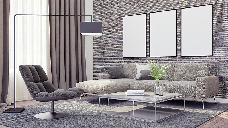 现代,三维图形,起居室,室内设计师,座位,绘画插图,家具,光,明亮,居住区