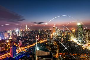 城市,概念,网线插头,无线技术,天空,留白,未来,高视角,夜晚,全球通讯