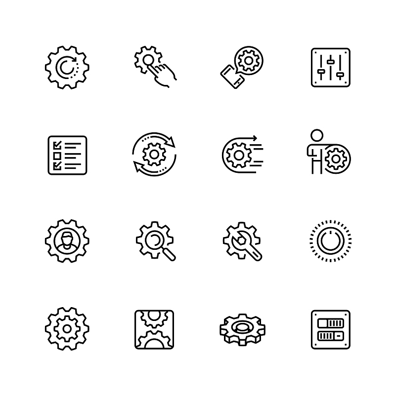 细的,矢量,图标集,线条,家庭,时尚,设备用品,选择键,旋钮,扳手