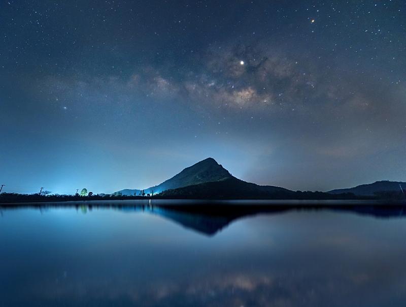 泰国,天空,夜晚,水,山,星星,银河系,在上面,北碧,反射