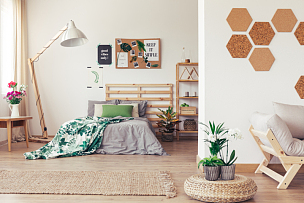 卧室,告示牌,辫状,水平画幅,无人,蛇王,家具,沙发,毯子,古典风格