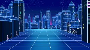 未来,城市,绘画插图,摩天大楼,80年代风格,三维图形,电子音乐,科幻片,激光,电子合成器