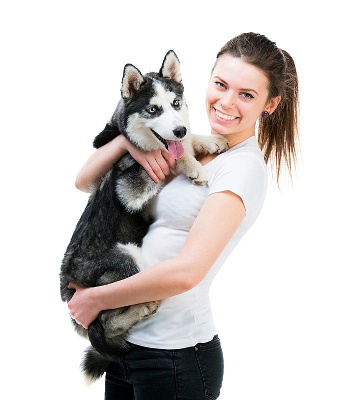 快乐,狗,女孩,垂直画幅,美,女人,纯种犬,可爱的,蓝色,美人