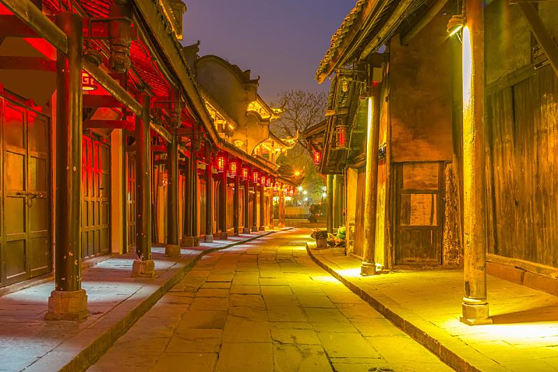 黄龙 ,四川省,城镇,远古的,山谷,客家族,成都,古代,商用码头,水