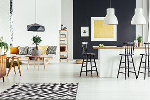住宅房间,吧椅,留白,古典式,家庭生活,灯,乡村风格,家具,明亮